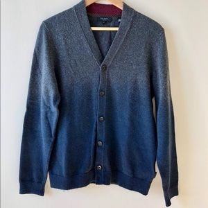 Men's Ted Baker Gray Sprayed Ombré Cardigan